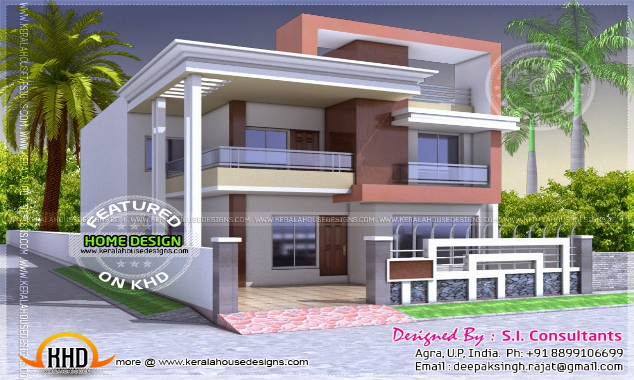 North indian style flat roof house with floor plan kerala for House designs indian style