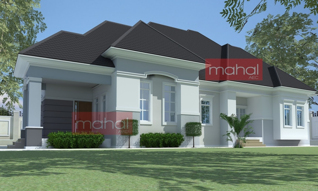 4 bedroom bungalow house plans nigerian design 4 bedroom for Single story brick house plans