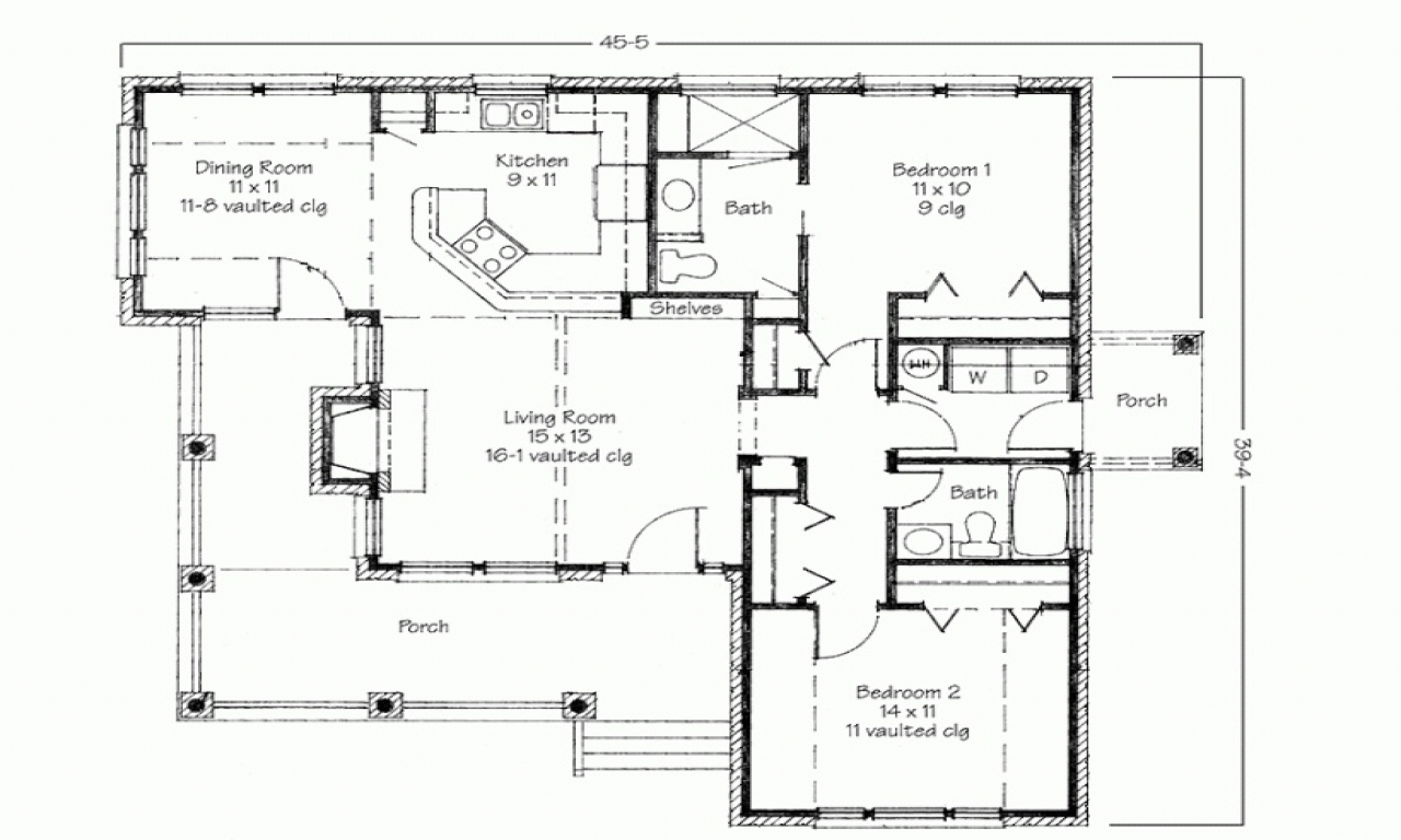 Two bedroom house simple floor plans three bedroom house for 2 bedroom ranch house plans