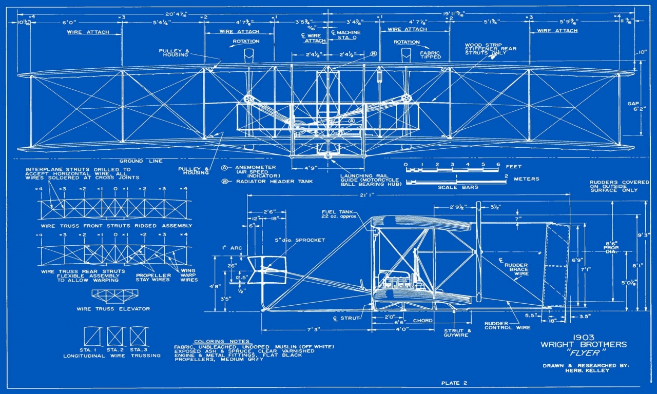 Wright Brothers Flyer 2 Wright Brothers Blueprints Plans
