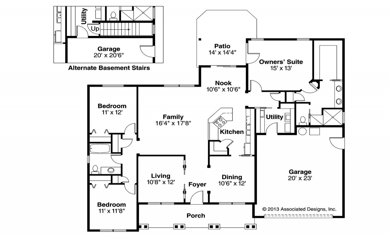 Craftsman style house floor plans craftsman home with tile for Open floor plan craftsman