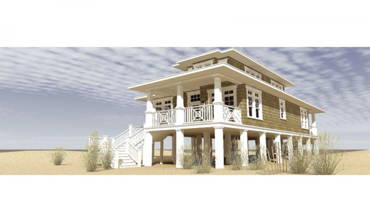 Low country house plans raised beach house with classic for Classic beach house designs
