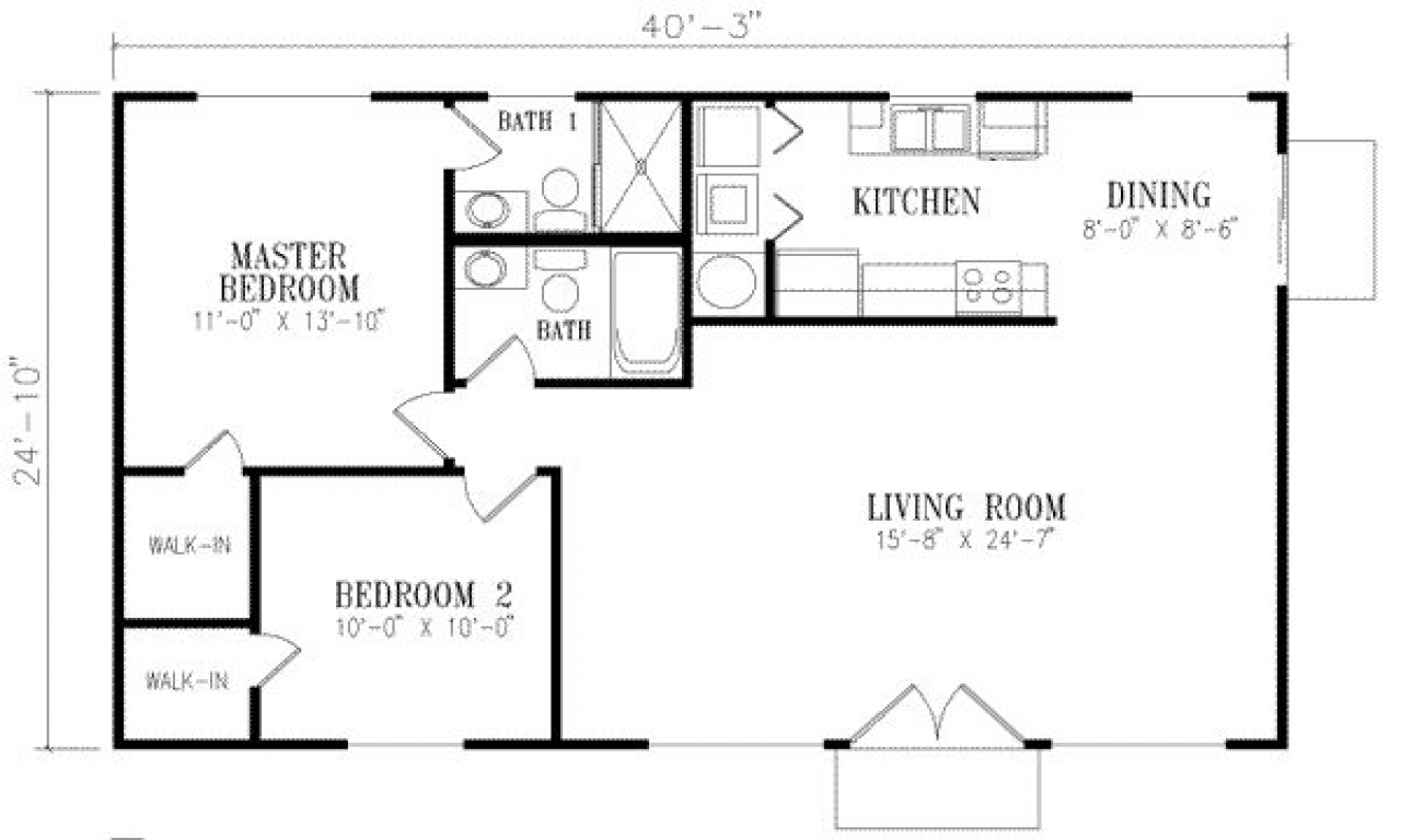 1000 square foot house plans 1 bedroom 800 square foot for Square footage of a room for flooring