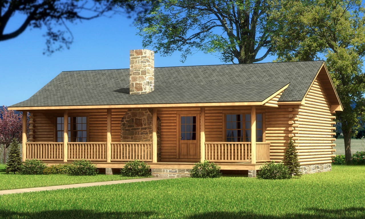 Single story log cabin homes single story cabin plans for Mountain log home plans