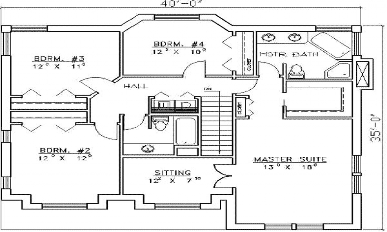 Residential house plans 4 bedrooms 4 bedroom house plans for Residential home floor plans