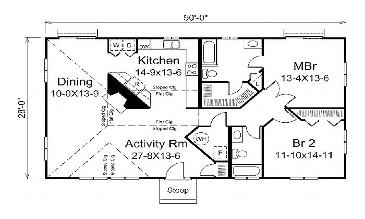 Square foot symbol 1400 square foot 2 bedroom house plans for 1400 sq ft house plans with basement
