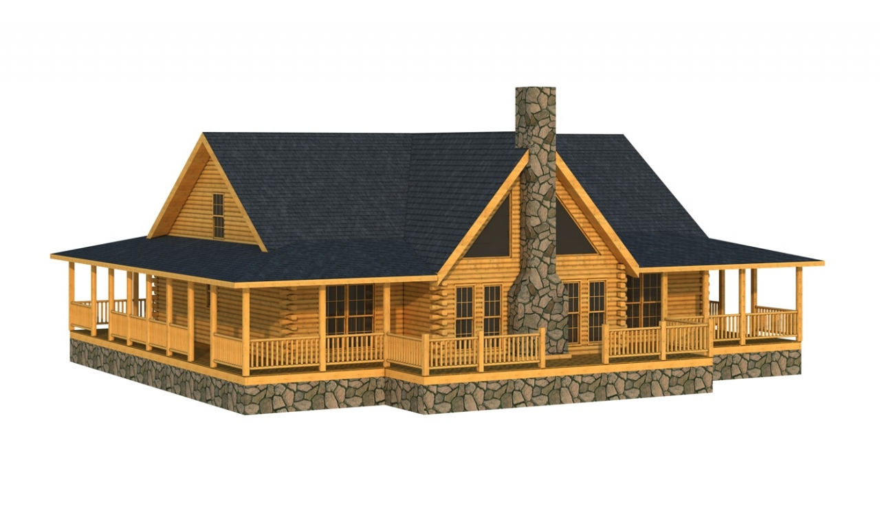 Log cabins free move you free log cabin home plans for Ranch log home floor plans