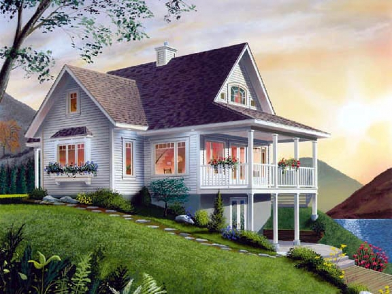 Country house plans small cottage small lake cottage house for Lodge style home plans