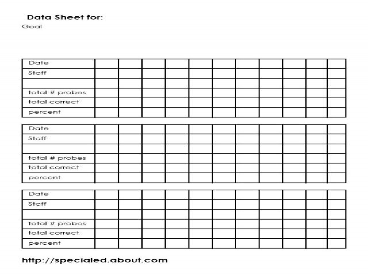 Iep Goals Data Collection Sheet Template Special Education