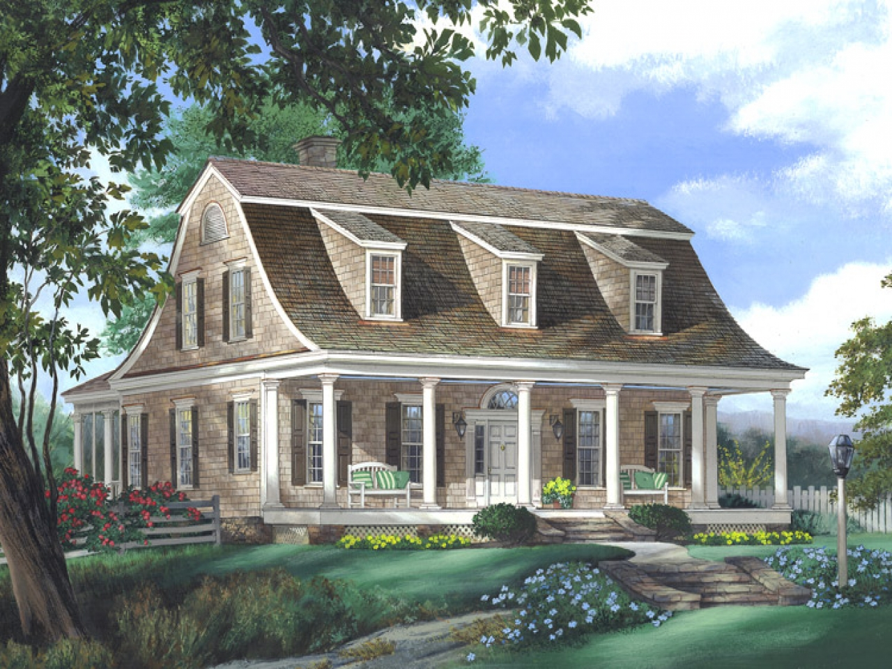 Dutch colonial style house plans southern colonial style for Southern style ranch home plans