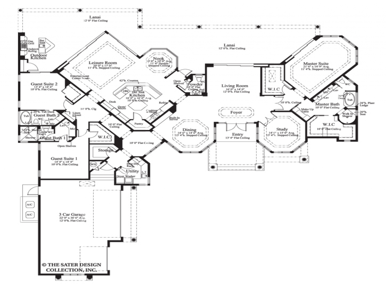 House plan the cardiff sater design collection luxury for Executive ranch floor plans