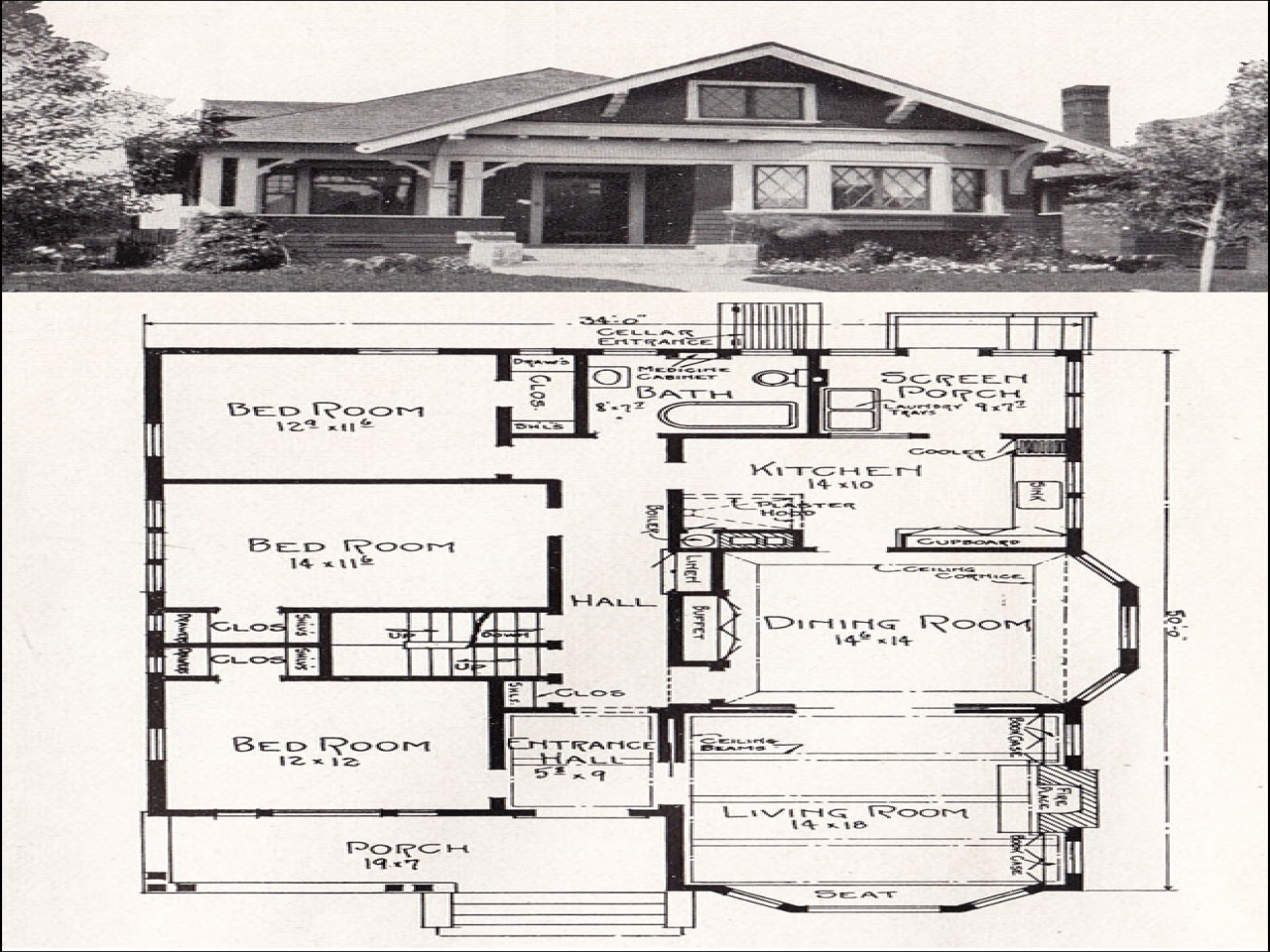American bungalow floor plans vintage bungalow floor plans for Old bungalow house plans