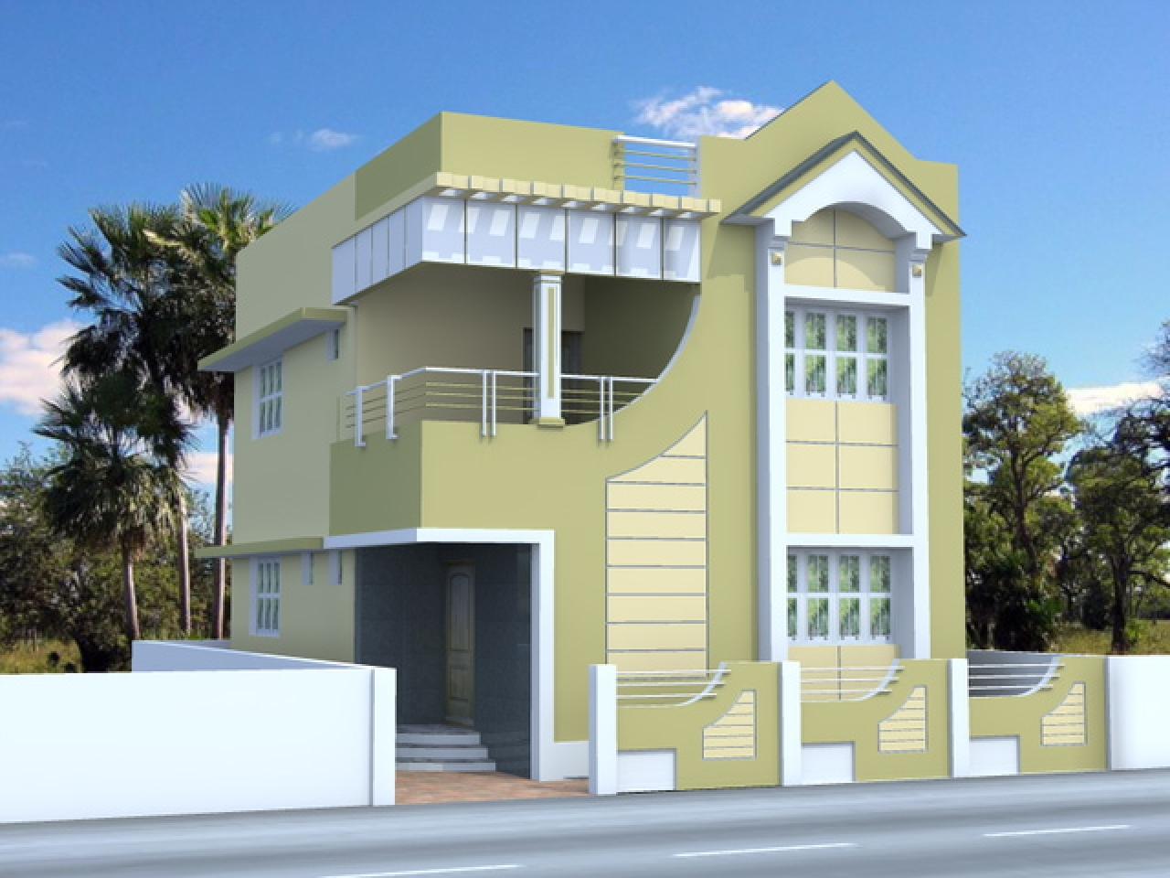 Home Front Elevation Colour : Tuscan house elevation designs small