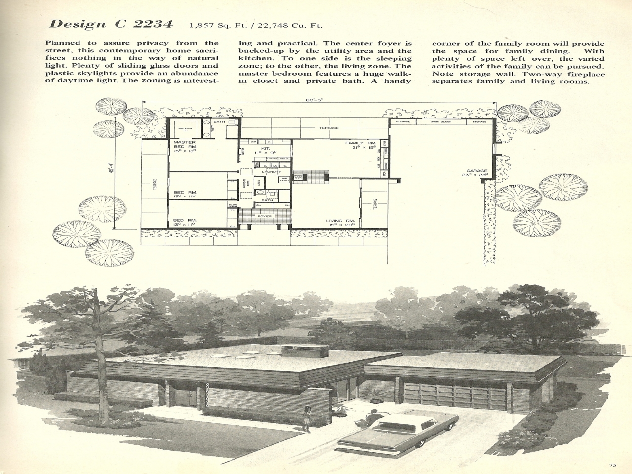 Vintage mid century modern house plan vintage mid century for Retro modern house plans