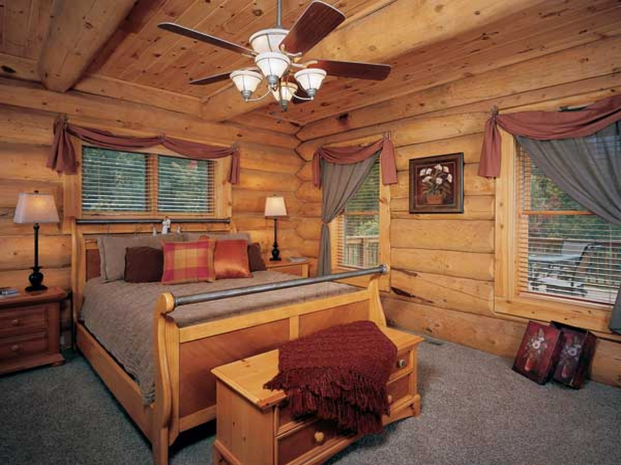 Log cabin style bedroom log cabin themed bedroom one for Log cabin styles
