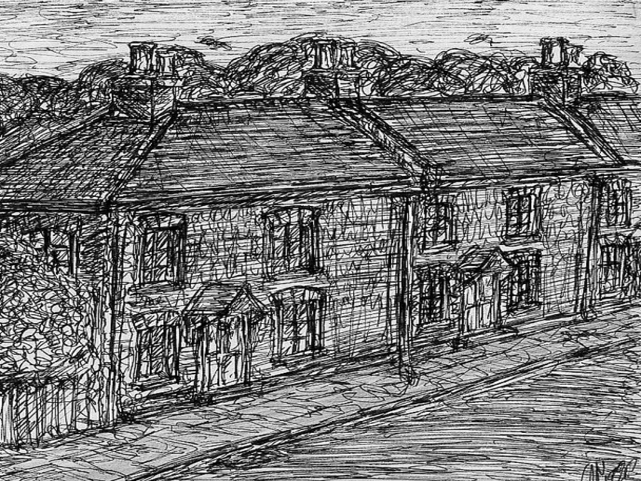 Old Cottage Drawings Old Western Town Drawing Drawings Of
