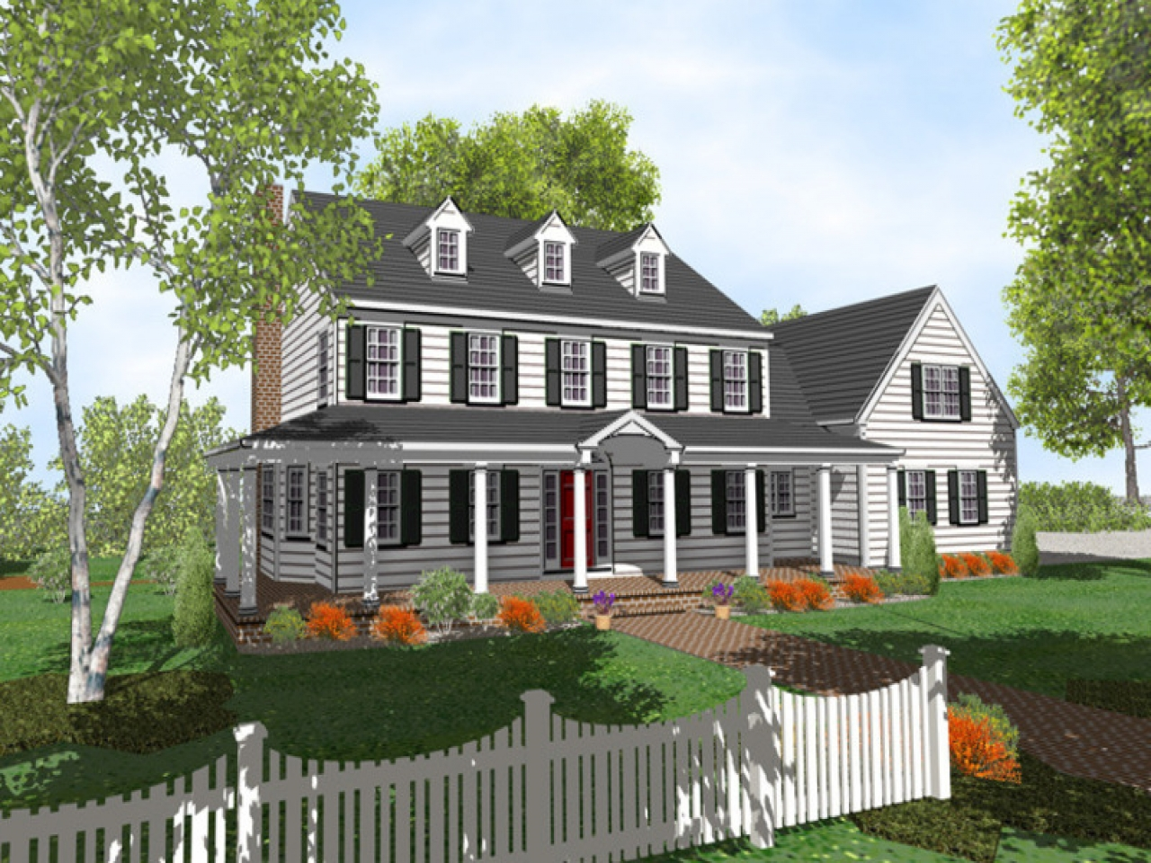 2 Story Colonial Style House Plans Two Story Colonial