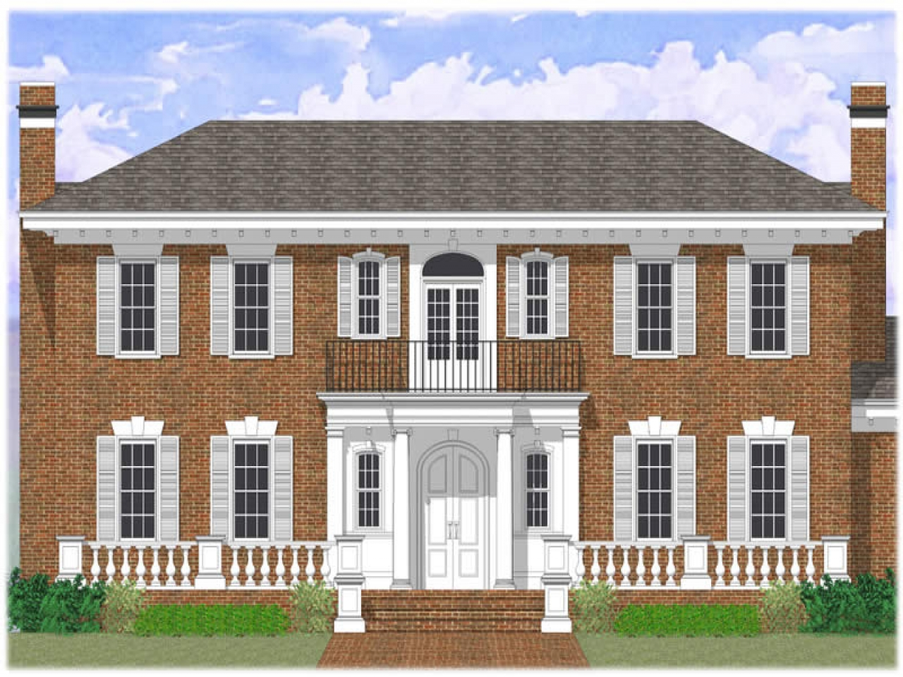 Colonial revival house plans brick colonial revival house for Brick colonial house plans