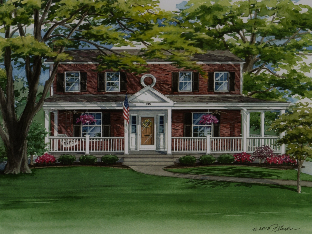 Colonial brick homes with porch southern colonial homes for Colonial brick