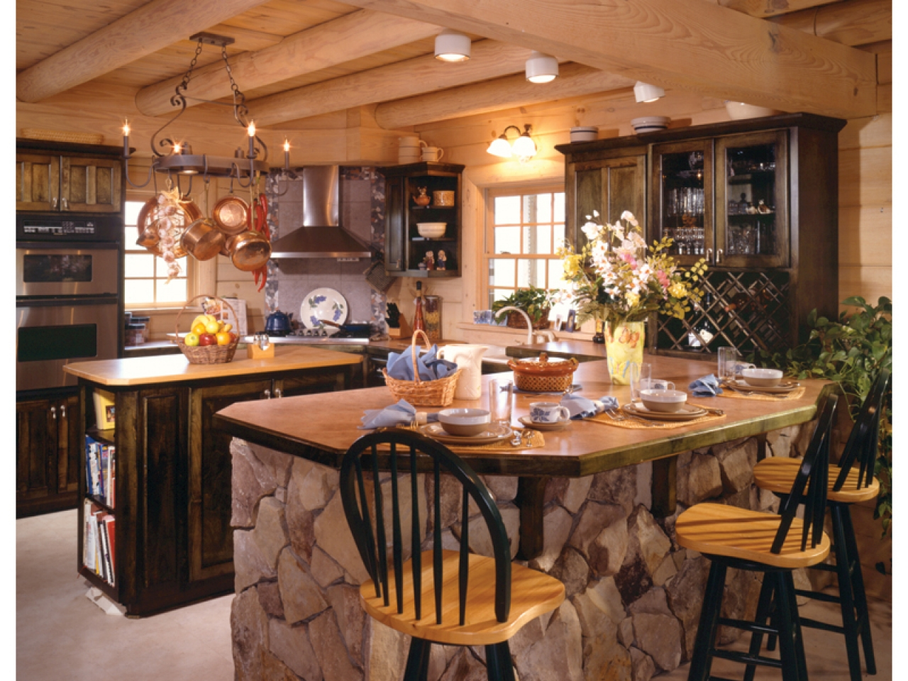 Country Log Home Kitchen Design Simple Country Kitchen
