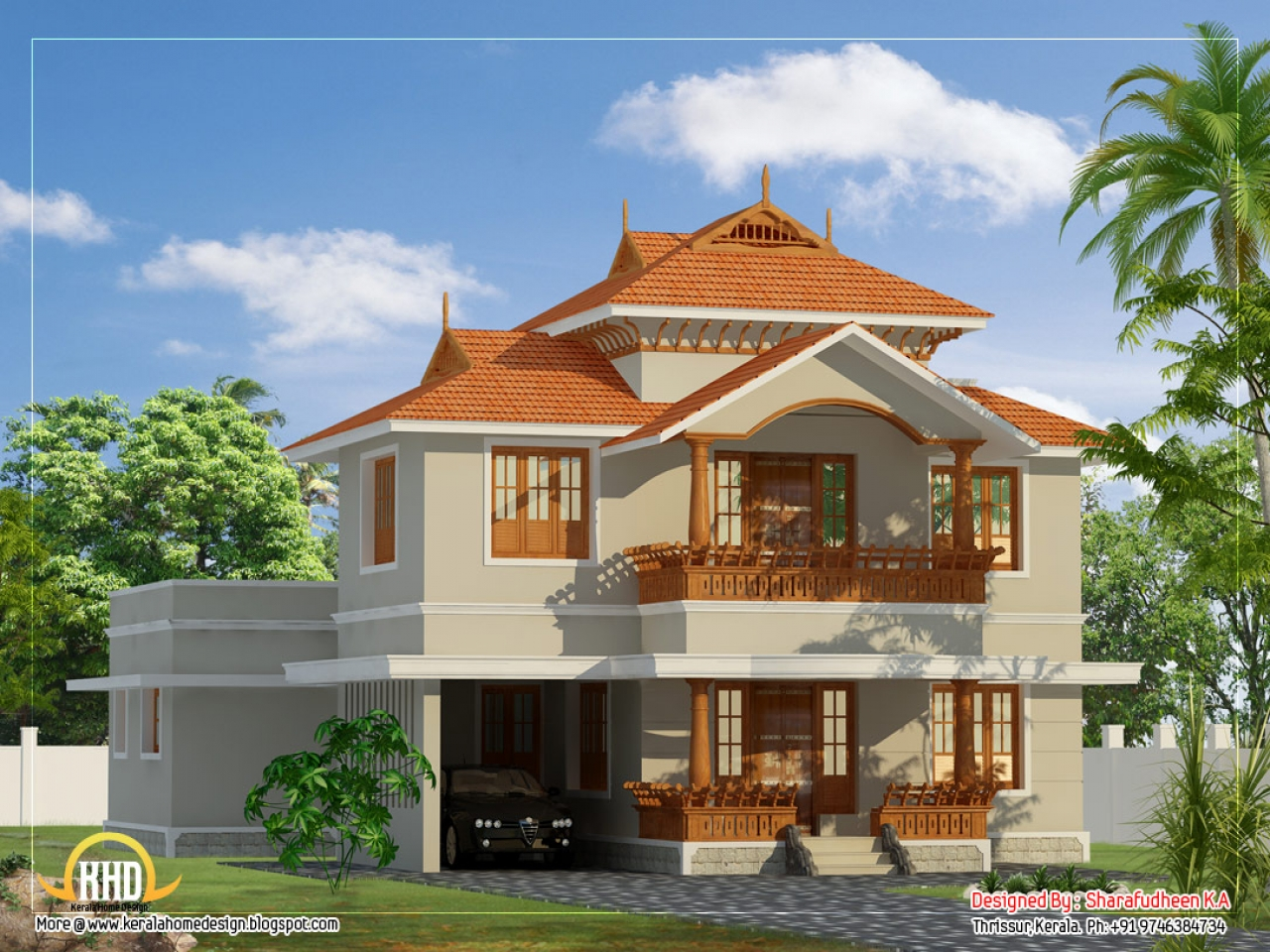 Most beautiful houses in kerala beautiful house designs for Beautiful ranch home designs