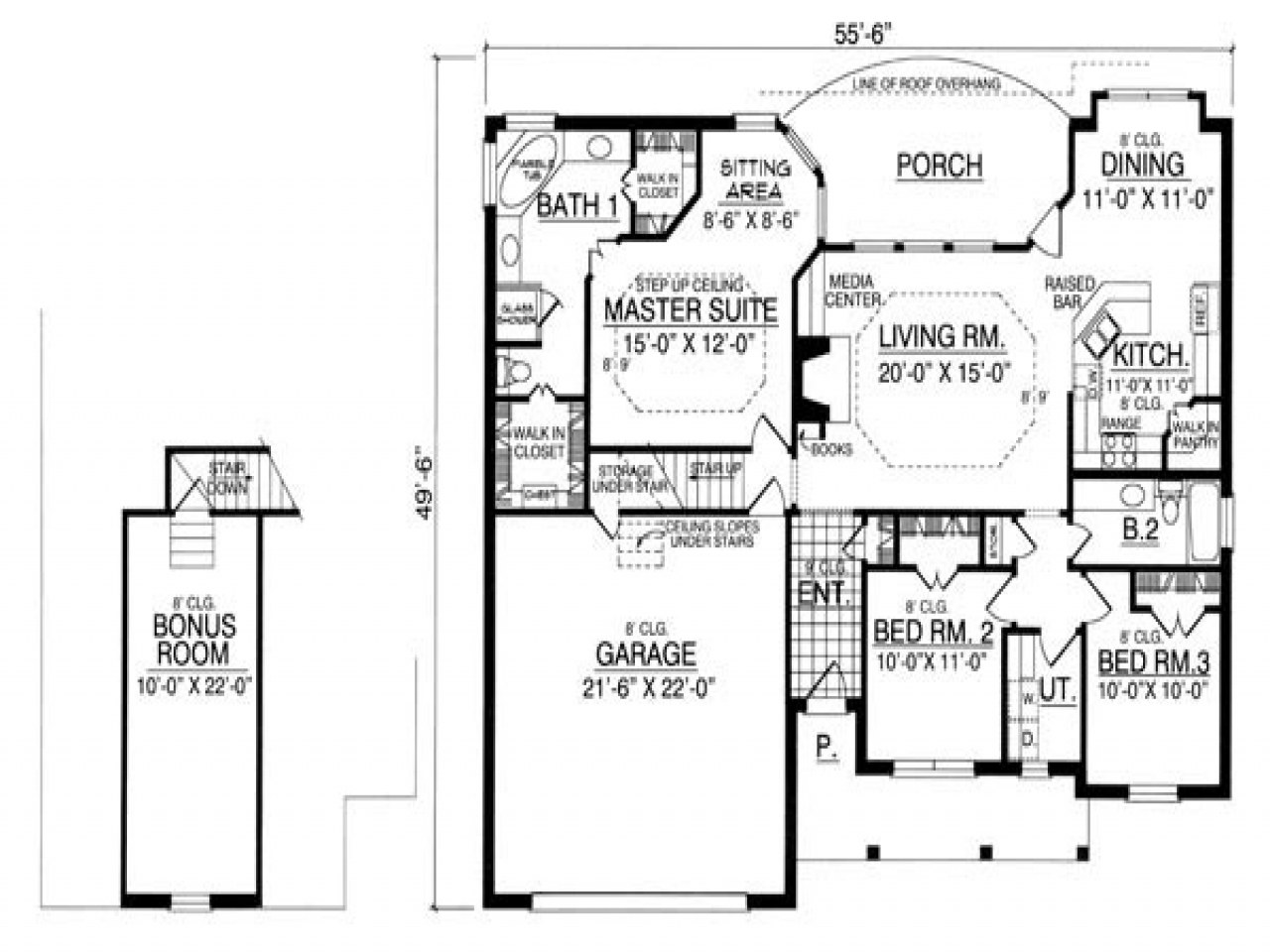 One story bungalow floor plans bungalow house plans with for Bungalow house plans with basement and garage