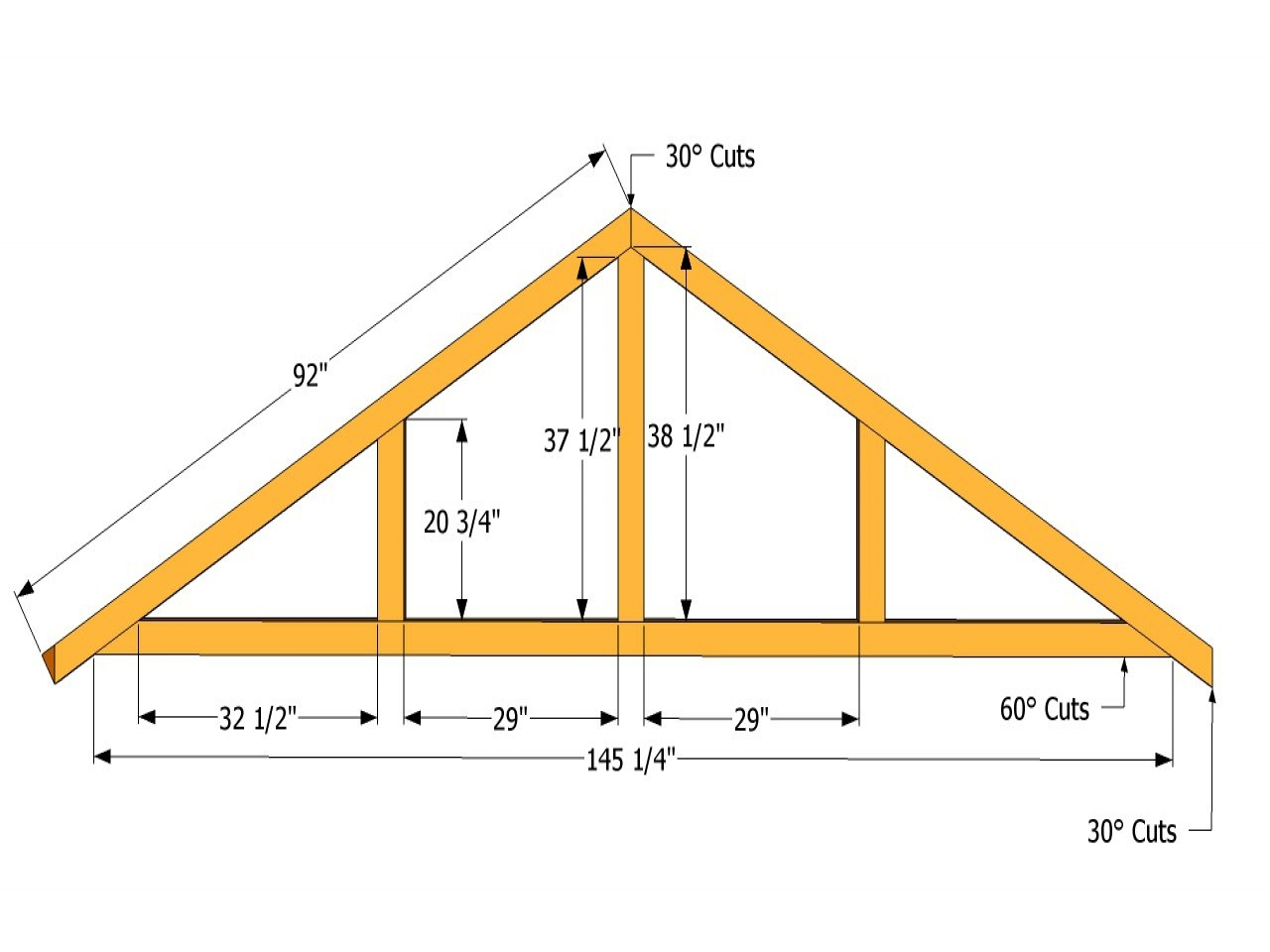 Shed roof design drawings shed roof truss design roof for Price on roof trusses