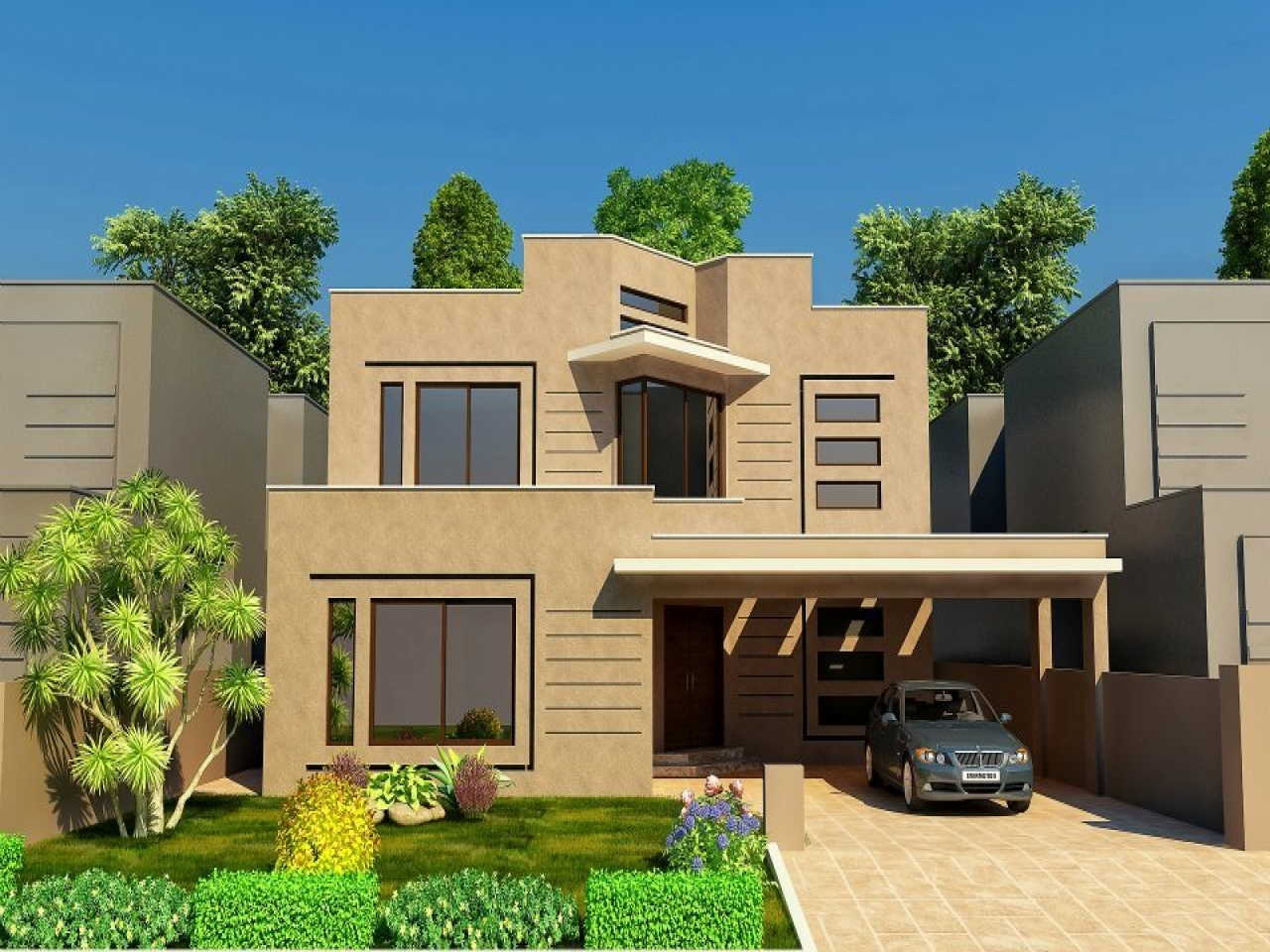 Modern front house elevation designs modern home front for Nice modern houses