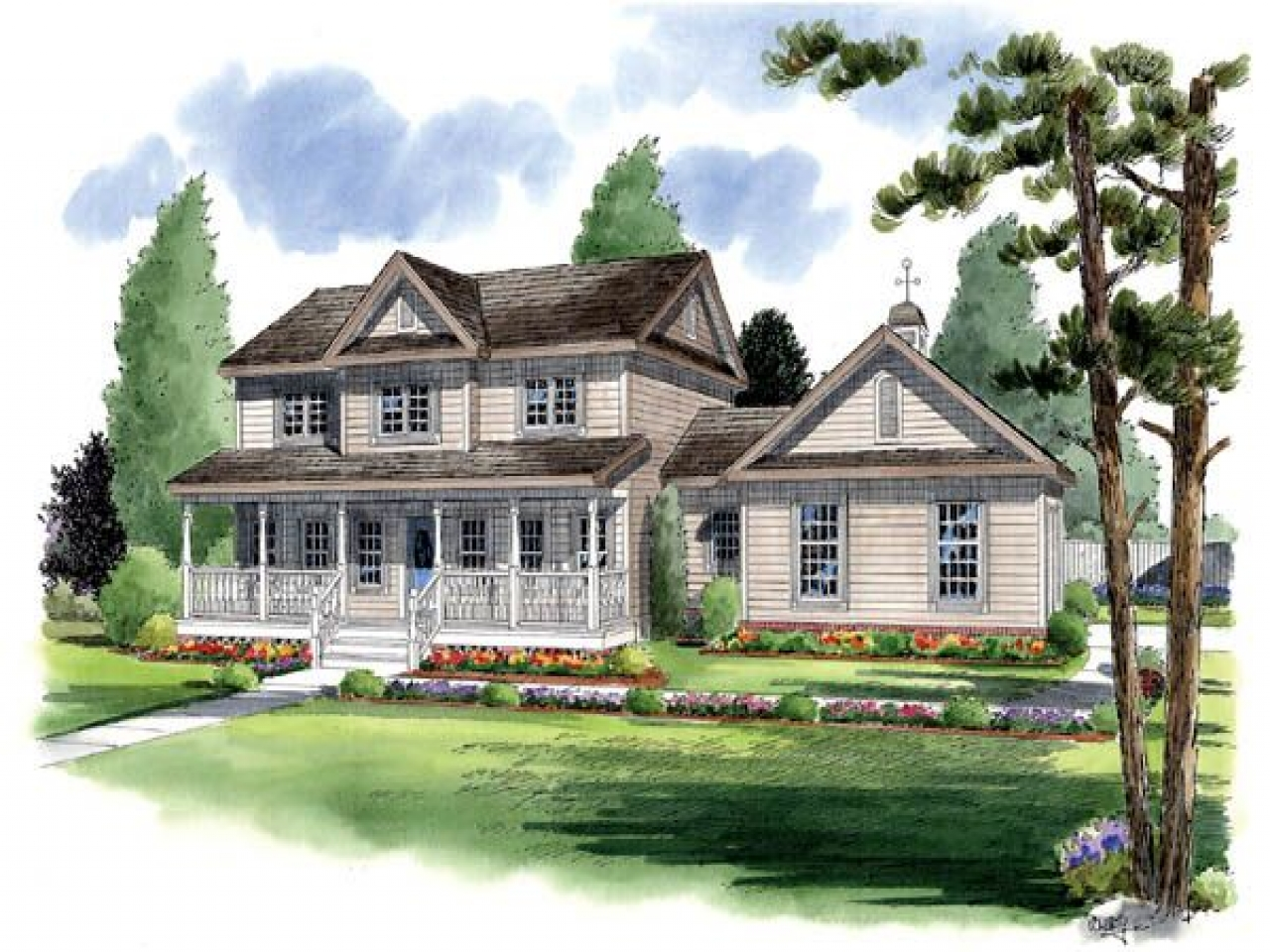 Traditional country farmhouse house plans traditional farm for Traditional farmhouse floor plans