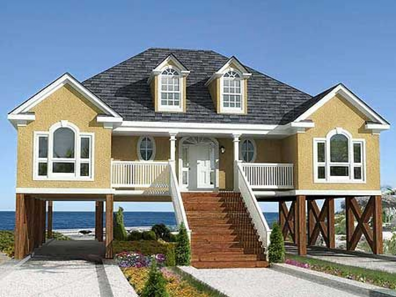 Cape cod beach house low country beach house plans for Elevated beach house designs