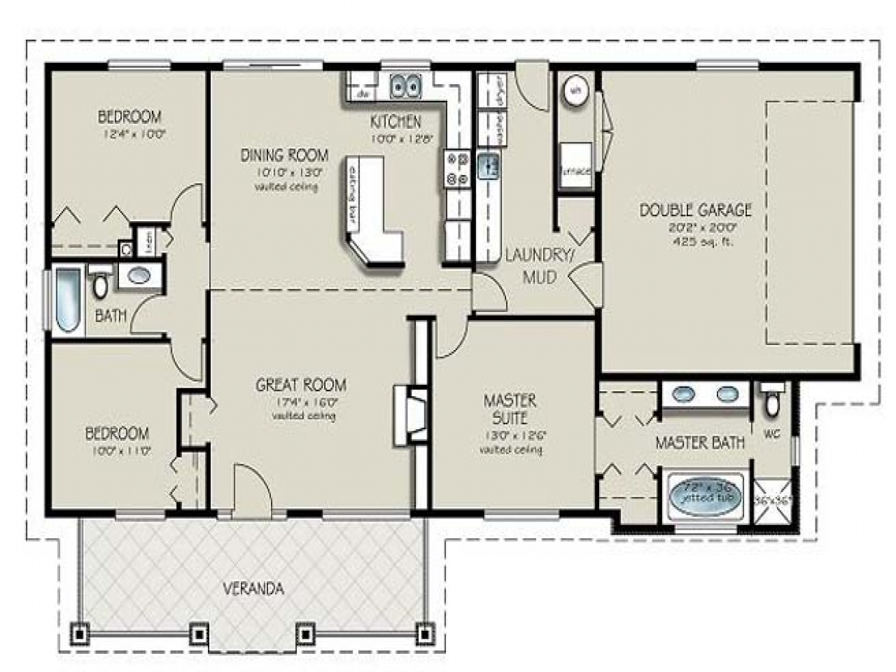 Residential house plans 4 bedrooms 4 bedroom 2 bath house for Residential home styles