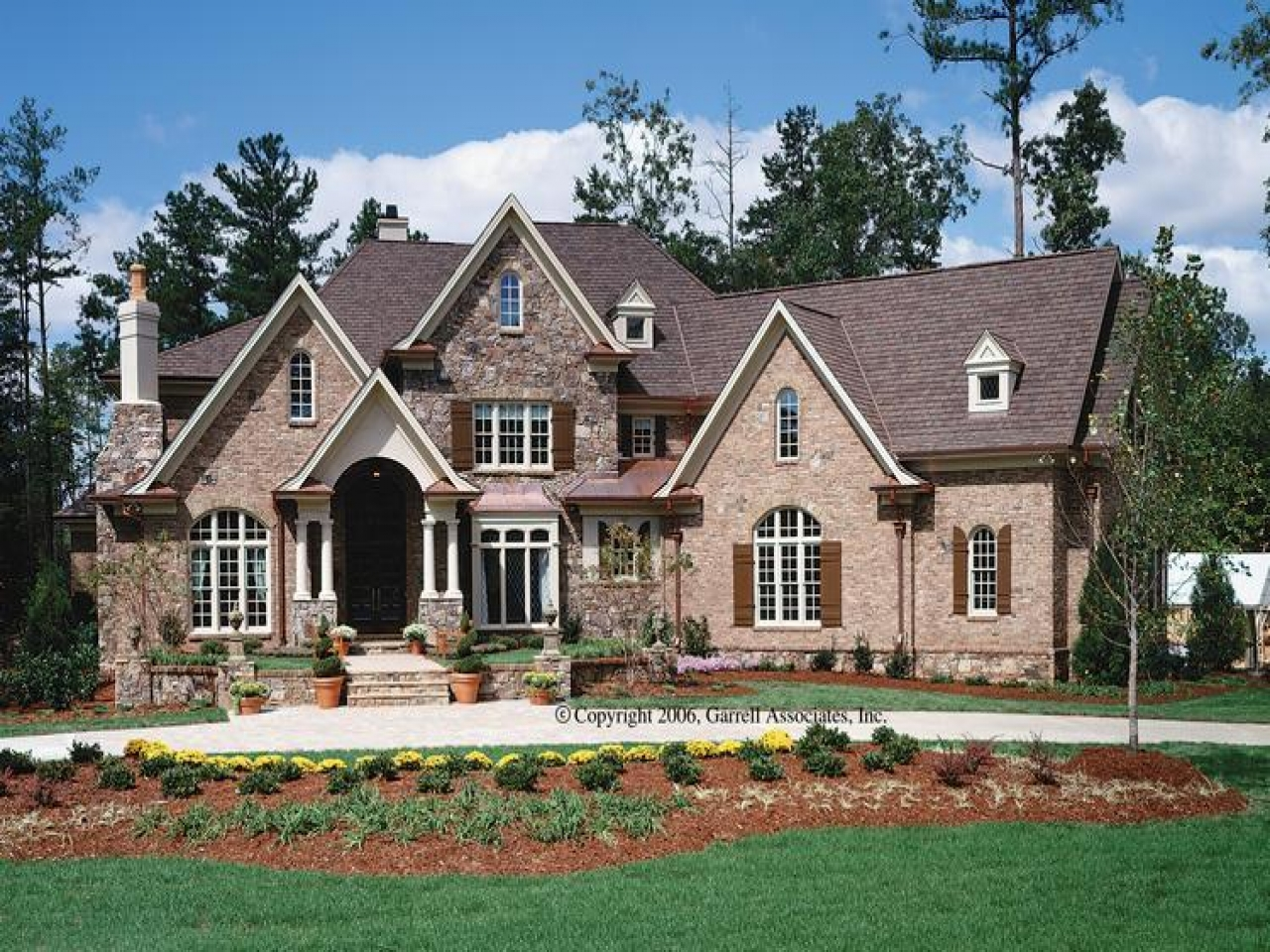 Brick house plans with porches brick home house plans for Stone and brick house plans