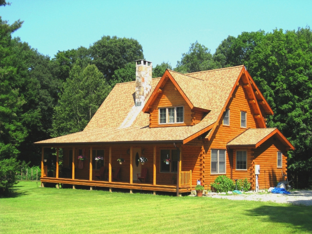 Log cabin house plans with open floor plan log cabin home for Log cabin ranch home plans