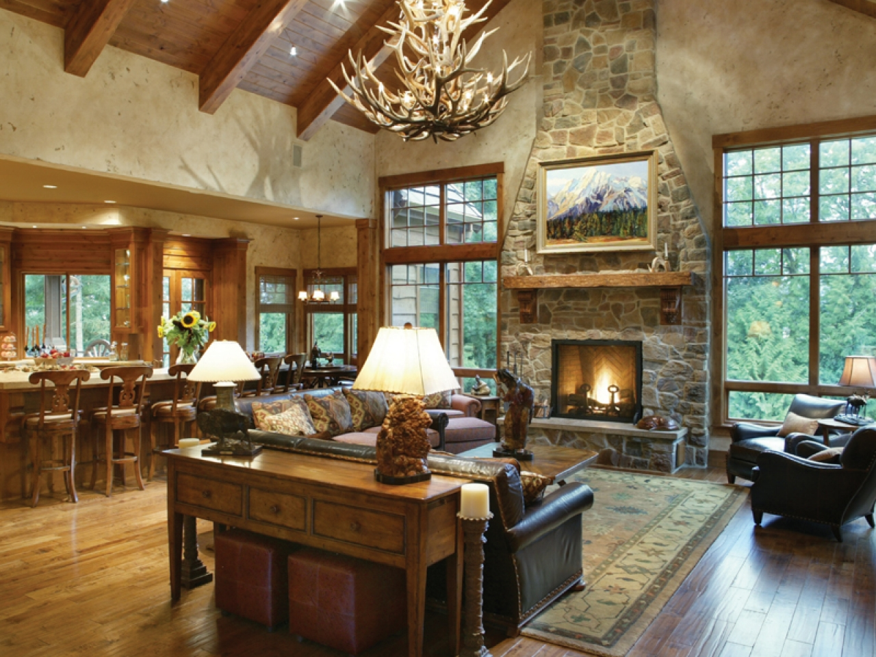 Open floor plans craftsman style rustic open floor plans for Great room floor plans