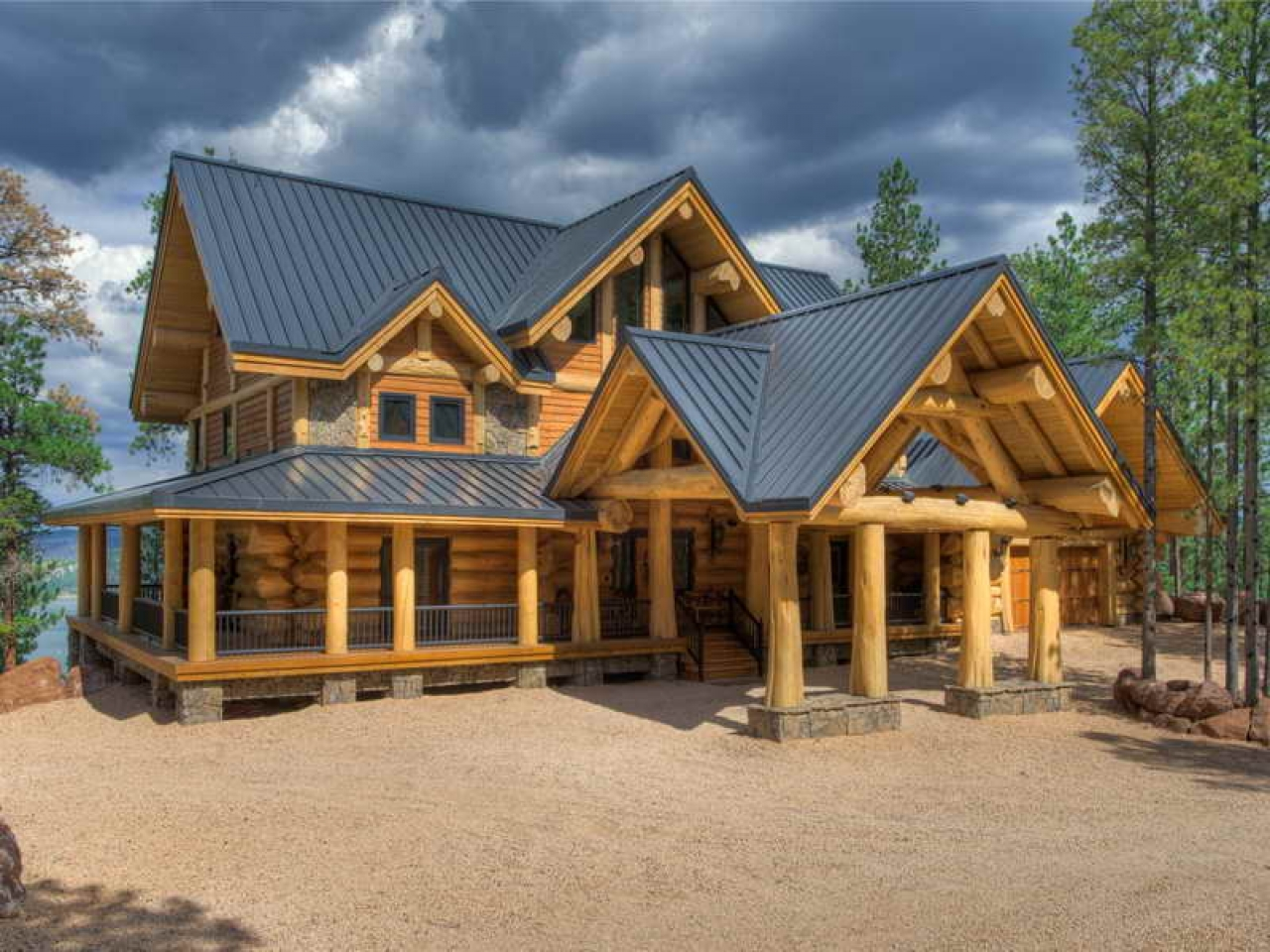 Custom log cabin homes luxury mountain log homes log for Custom luxury log homes
