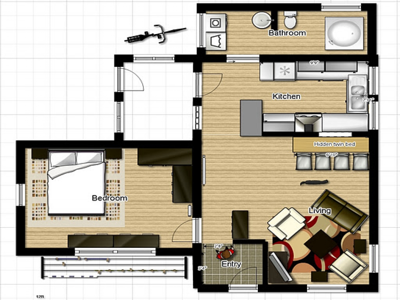 Small Homes And Cottages Small One Bedroom House Floor