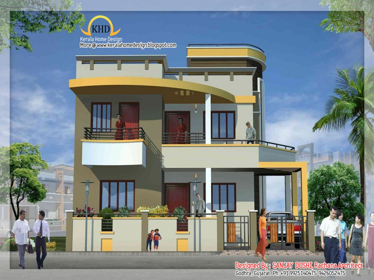 D Front Elevation Of School : Duplex house elevation designs beautiful front