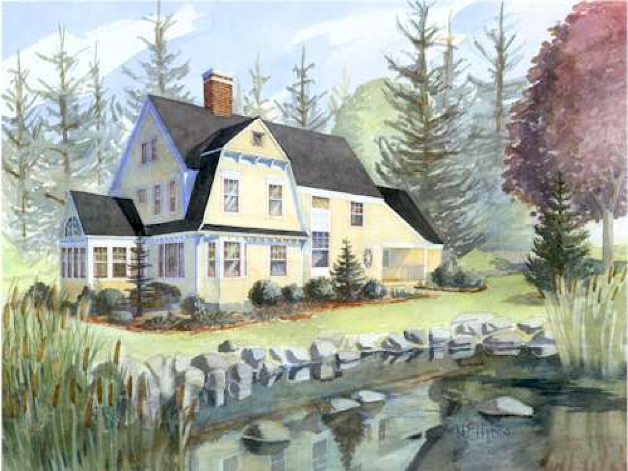 New england shingle style house plans shingle style for Characteristics of ranch style homes