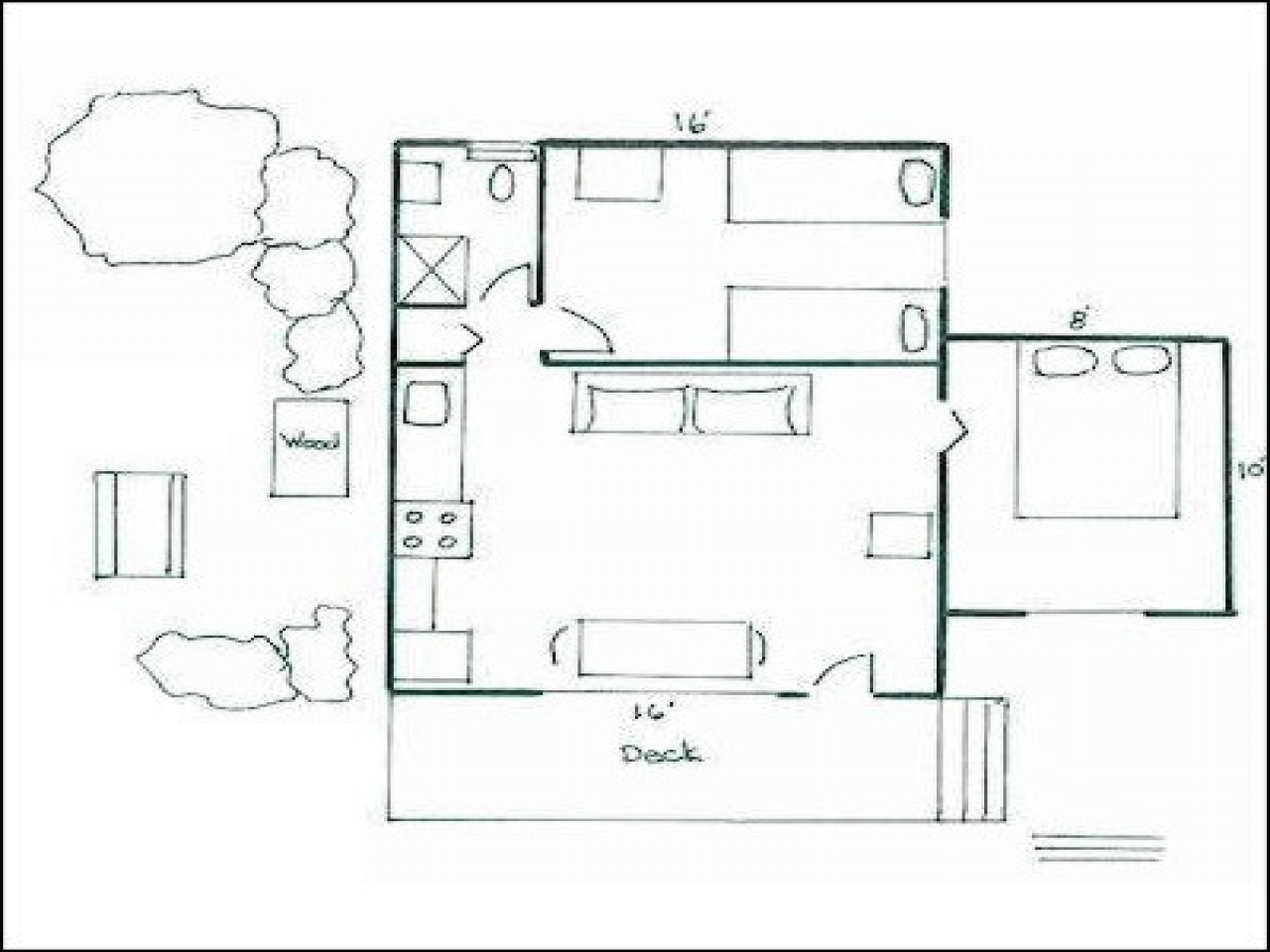 Small 2 bedroom cottage plans 2 br cottage plans two for Two bedroom bungalow plans