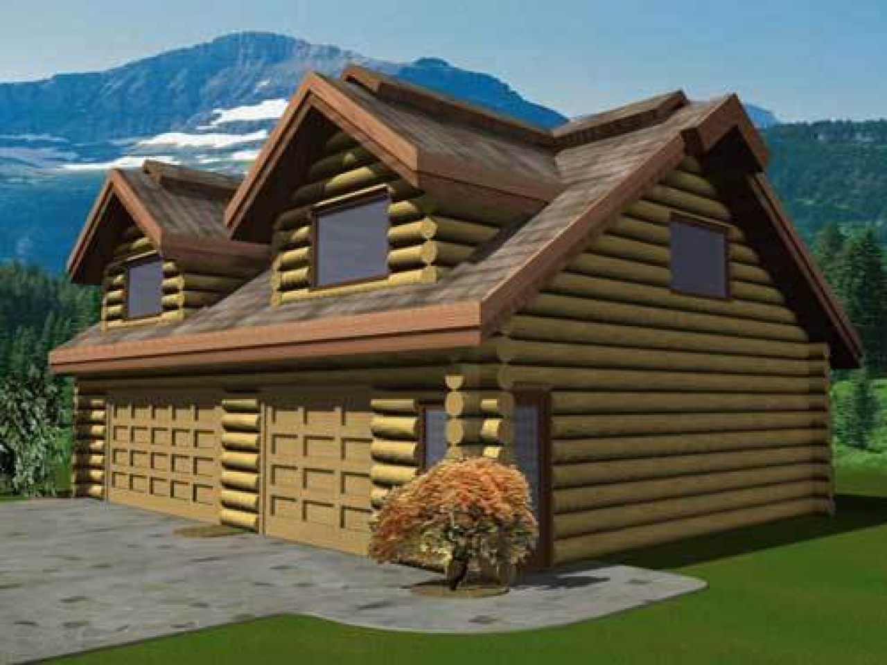 Small cabin plans log cabin plans with garage log home for Log cabin floor plans with garage