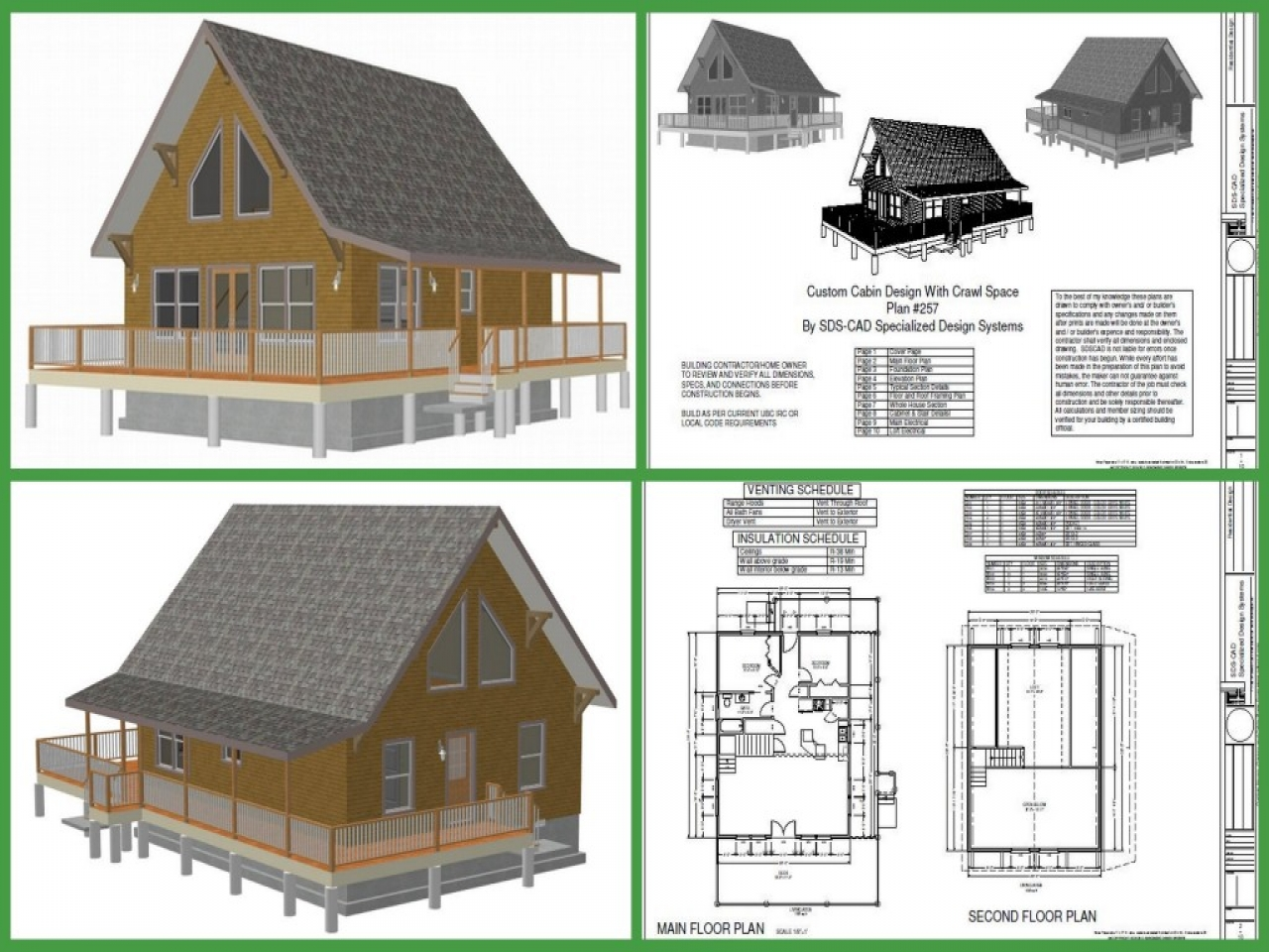 Cabin plan h257 1000 sq ft custom cabin design with crawl for Custom cabin plans
