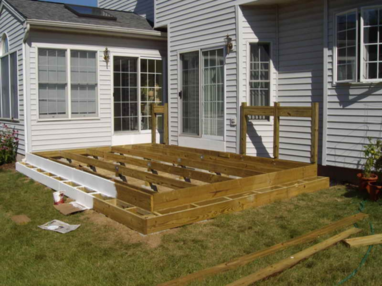 Floating Deck Plans Designs Floating Deck Against House ... on Patio Planner id=76972