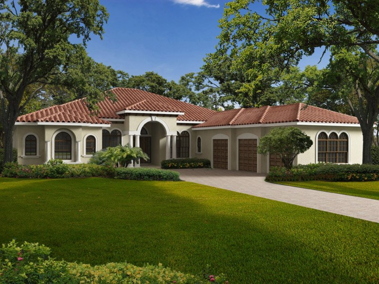 Single Story Mediterranean House Plans One Story