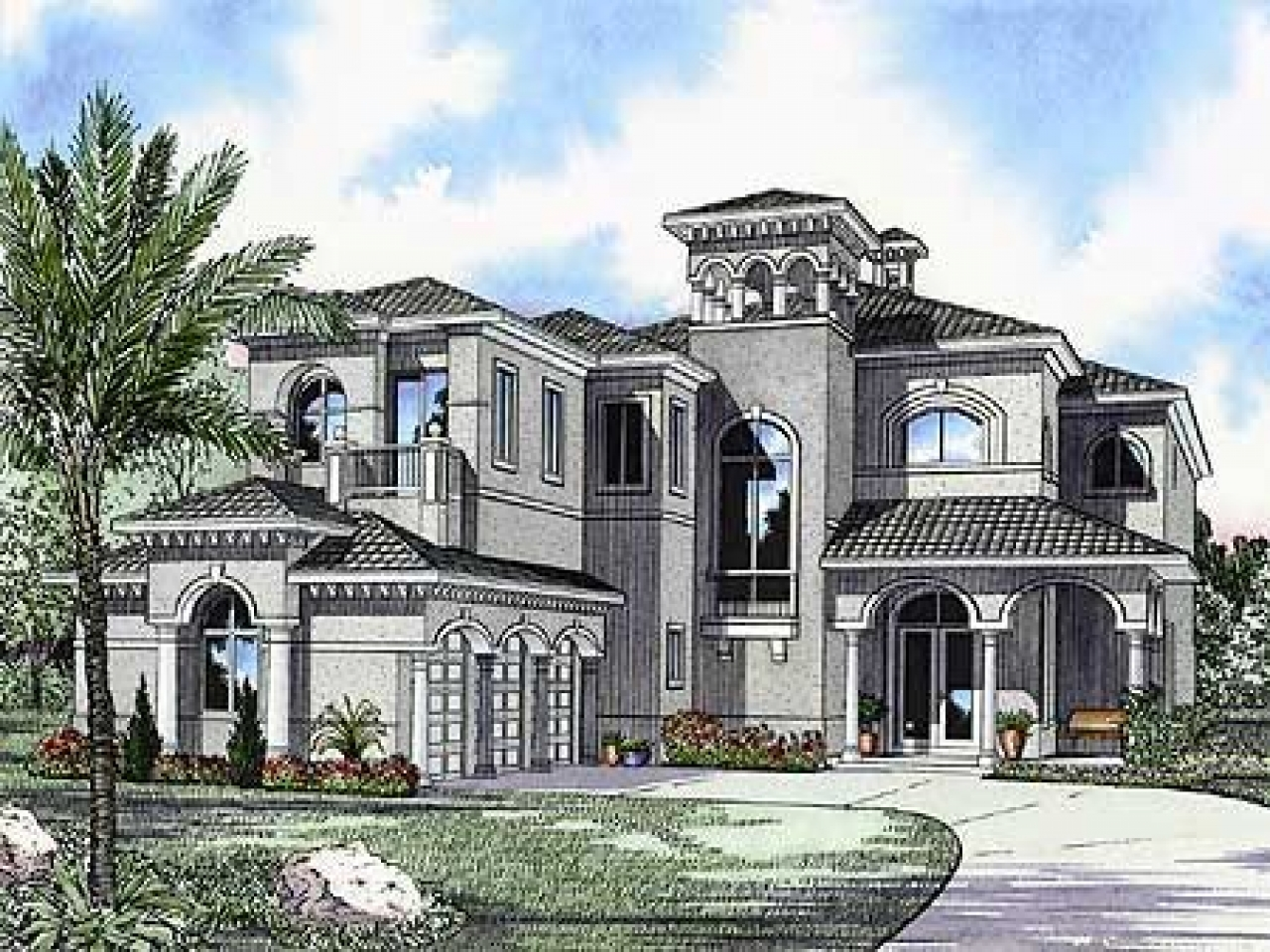 Home luxury mediterranean house plans designs for Mediterranean mansion floor plans