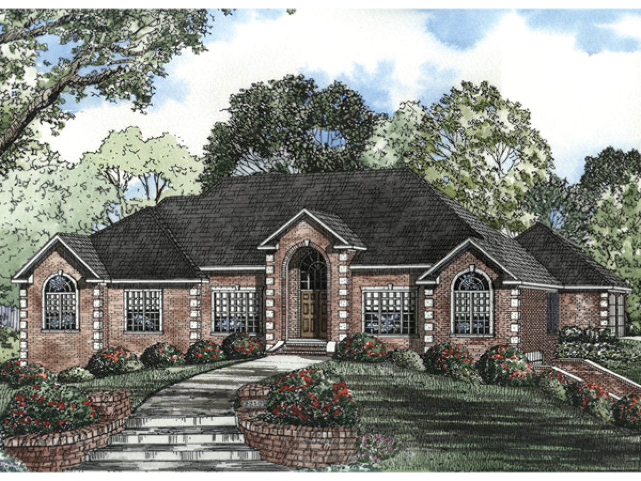 Red brick ranch style house