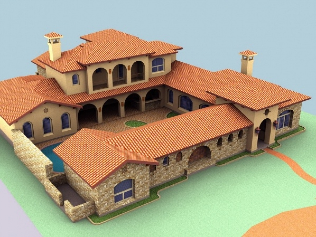 Spanish mediterranean style homes spanish hacienda style for Spanish mediterranean architecture