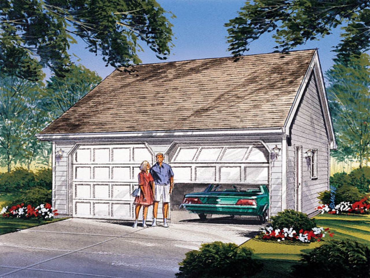Reverse gable 2 car garage reverse gable additions hda for Gable roof garage