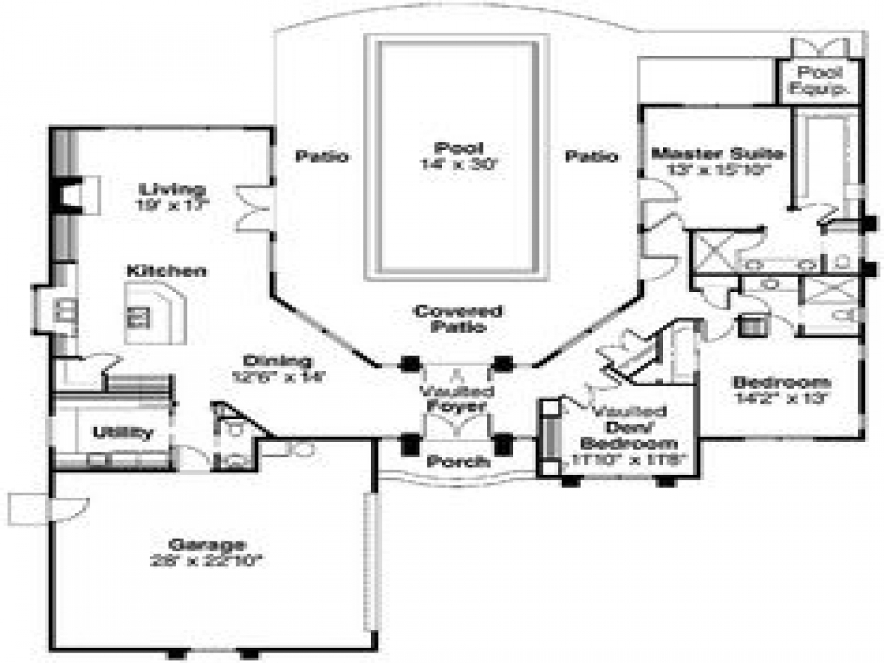 Pool house plans with courtyard indoor swimming pools for Pool house floor plans
