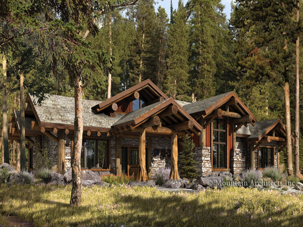 Log cabin style homes rustic log cabin home plans ranch for Log cabin styles