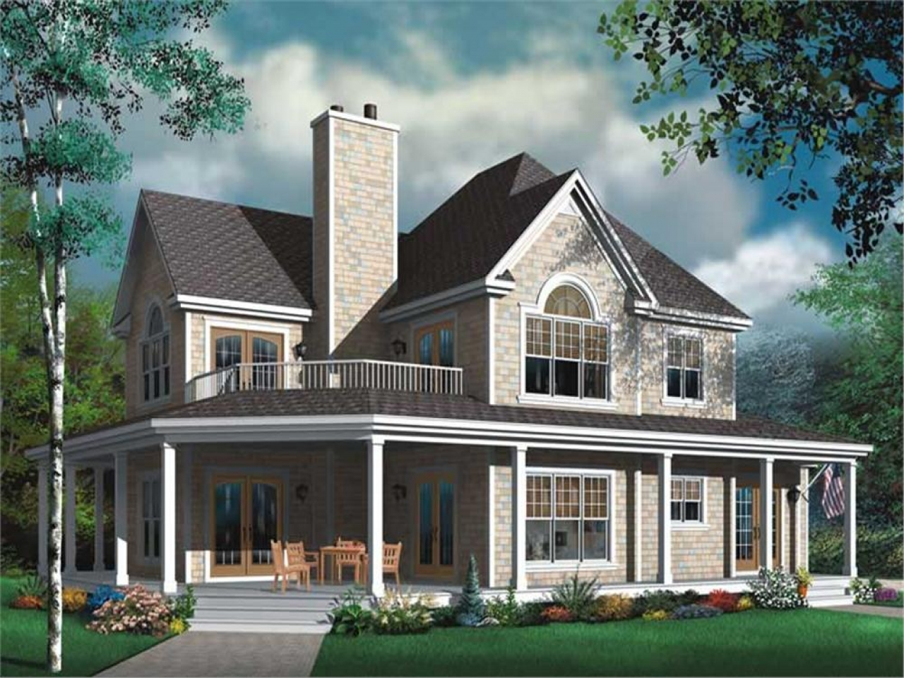 Two Story House Plans With Wrap Around Porch Two Story